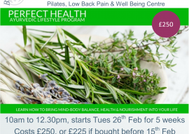 Perfect Health Ayurvedic Lifestyle 5 week course (starts 26th Feb)